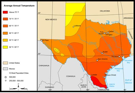 weather in texas map map of texas map average temperatures worldofmaps net maps and travel information