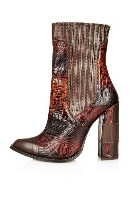 unique boots topshop chelsea boots by unique in brown lyst