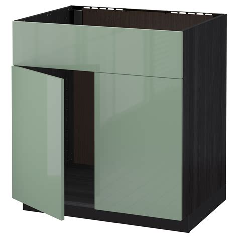 green kitchen cabinet doors metod base cabinet f sink w 2 doors front black kallarp