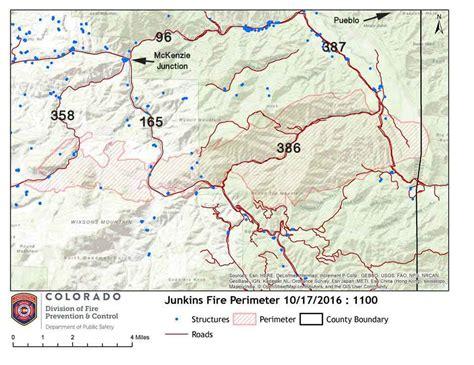colorado wildfire map junkins causes evacuations west of pueblo colorado