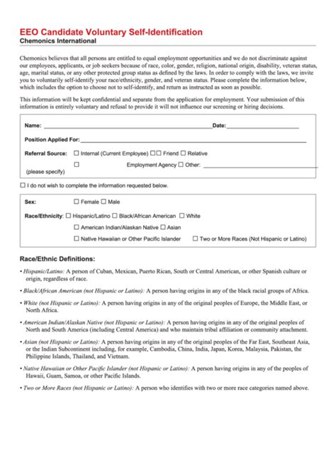 12 Eeoc Forms And Templates Free To Download In Pdf Affirmative Voluntary Self Identification Form Template