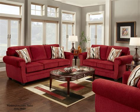 red sofa living room 4180 washington samson red sofa and loveseat www