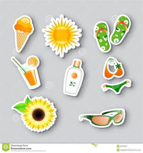 summer themes icons on the summer theme royalty free stock photography