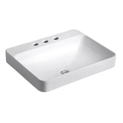 home depot kohler bathroom sink kohler vox above counter bathroom sink in white 2660 8 0