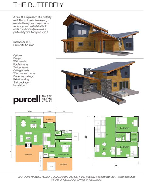 purcell timber frame homes the butterfly prefabricated