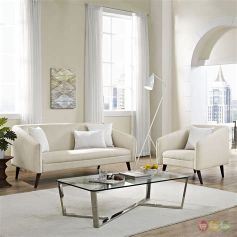 Upholstered Living Room Sets Slide Modern 2 Pc Upholstered Sofa Armchair Living Room Set Beige