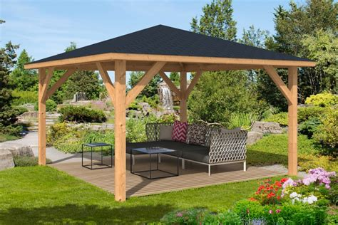 holz gartenpavillon syros larch timber gazebo 4 3x4 3m