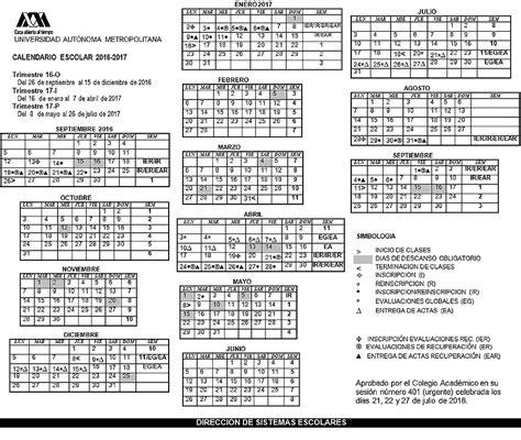 Calendario Quincenal 2017 Uam Universidad Aut 243 Noma Metropolitana Calendario