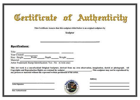 free printable certificate of authenticity templates