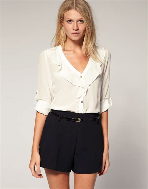 Blouse Ruffle oasis silk ruffle front blouse in white lyst