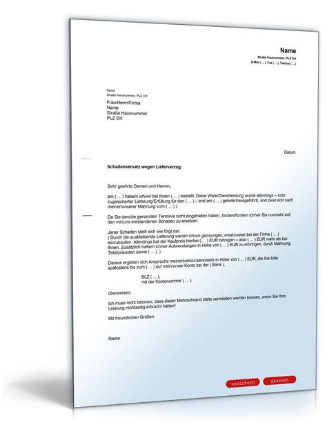 Musterbriefe Lieferverzug Schadensersatzforderung Wegen Nichteinhaltung Eines Liefertermins