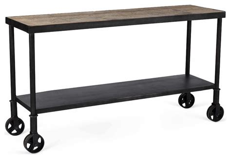 industrial sofa table with wheels belker industrial loft reclaimed wood iron casters cart