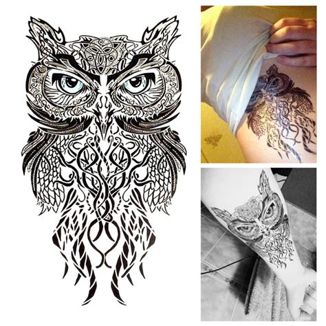 henna tattoo wall art aliexpress buy blue owl temporary