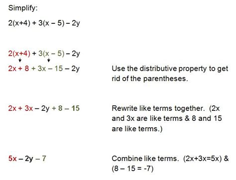 Combining Like Terms And Distributive Property Worksheet by Distributive Property Combining Like Terms Worksheet