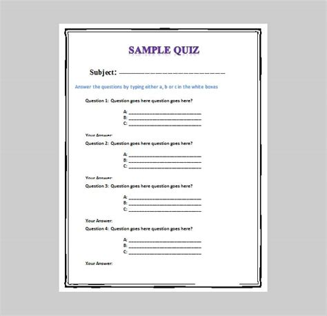 printable quiz template 5 best free business quiz templates free premium templates