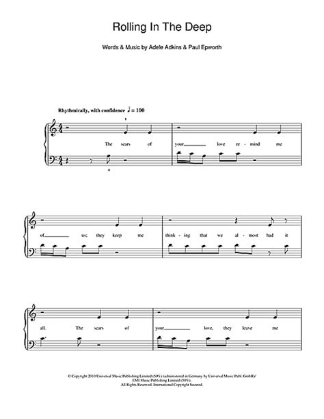 adele rolling in the deep piano music rolling in the deep sheet music by adele 5 finger piano