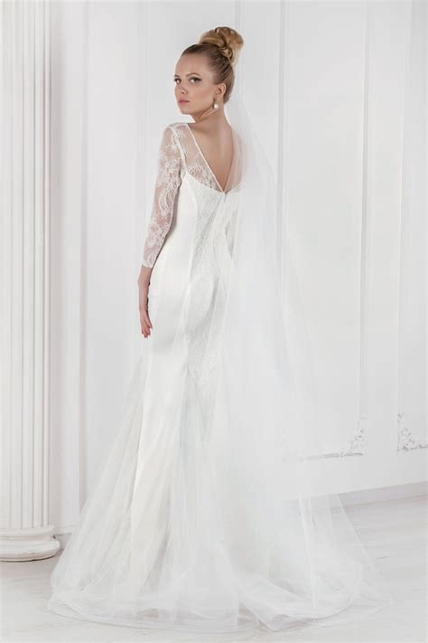 Robe De Mariée Droite Dentelle - robe de mari 233 e fourreau avec manches 3 4 oksana mukha