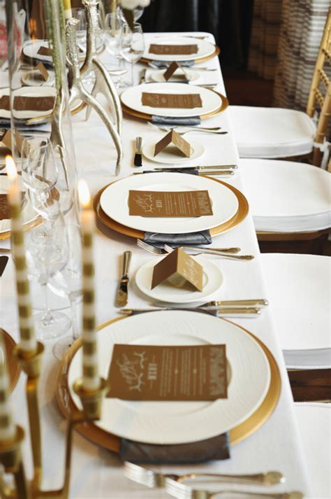 Gold and Cream Reception Table Decor   Elizabeth Anne