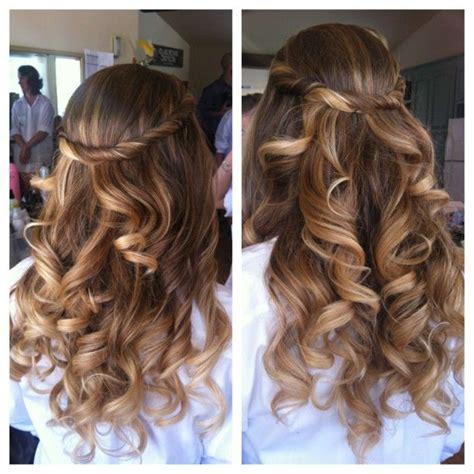 loose curls long hair bridesmaid loose curls long hair ombre blushing bride