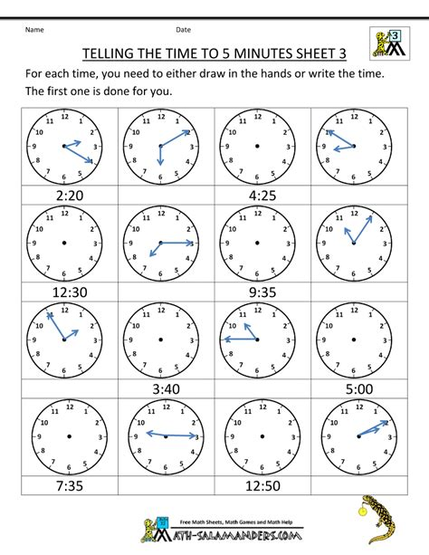 free printable time math sheets telling time clock worksheets to 5 minutes