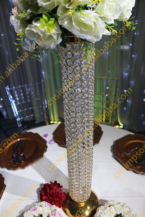 Golden Crystal Beaded Pillar Crystal Vases For Wedding Where To Buy Vases For Wedding Centerpieces