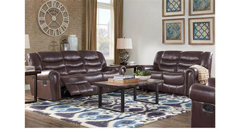 Mahogany Living Room Furniture 2 138 00 Sky Light Blue Ridge Mahogany Reddish Brown 7 Pc Leather Living Room Reclining