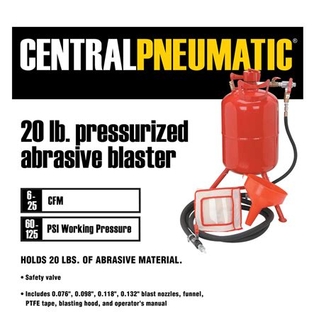 bead blaster harbor freight 20 lb pressurized abrasive blaster