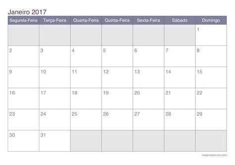 Calendario 2017 Feriados De Janeiro Calend 225 Janeiro 2017 Para Imprimir Icalend 225 Br