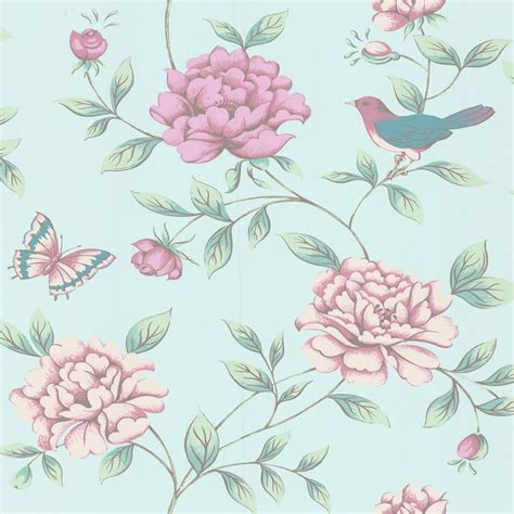 flower wallpaper duck egg duck egg pink 17869 isabelle birds butterflies