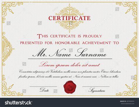 certificate template size certificate template design emblem flourish border stock
