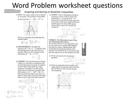 Word Problems With Quadratic Equations Worksheet by Quadratic Word Problems Worksheet Worksheets