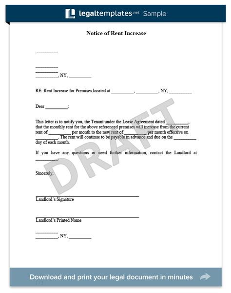 Raise Rent Form Letter Create A Rent Increase Notice In Minutes Templates