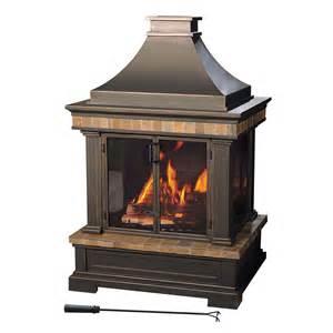 shop sunjoy black steel outdoor wood burning fireplace at