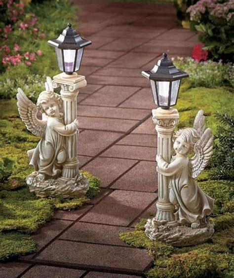 angel solar lights outdoor 19 quot tall highly detailed solar angel garden lantern statue