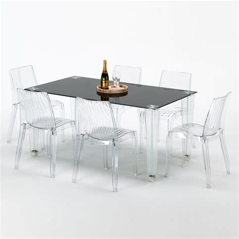 tavoli policarbonato tavolo rettangolare vetro 6 sedie policarbonato