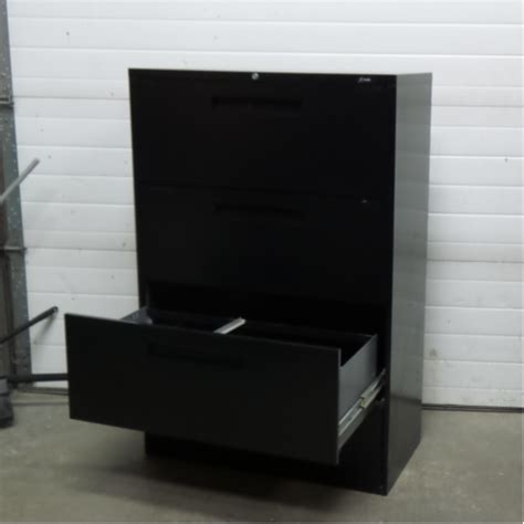 Locking Lateral File Cabinet Global Black 4 Drawer Lateral Filing Cabinet Locking Allsold Ca Buy Sell Used Office