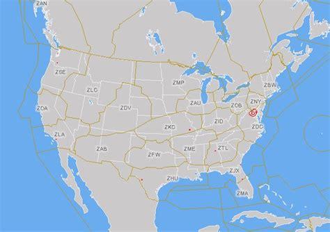 united states flight map area center