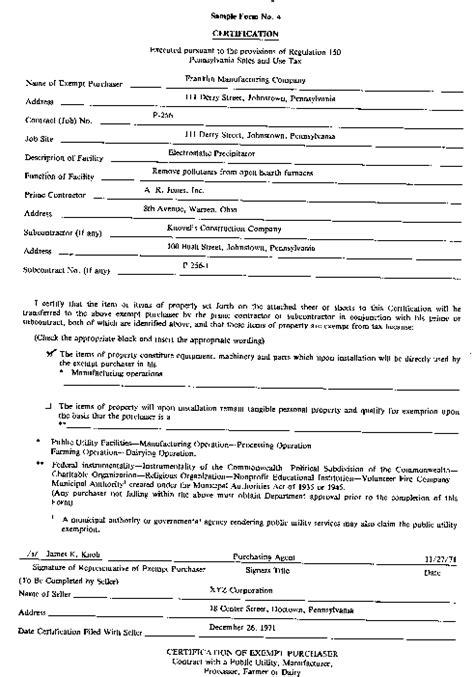 Blanket Exemption Certificate Ohio by Blanket Sales Tax Exemption Certificate