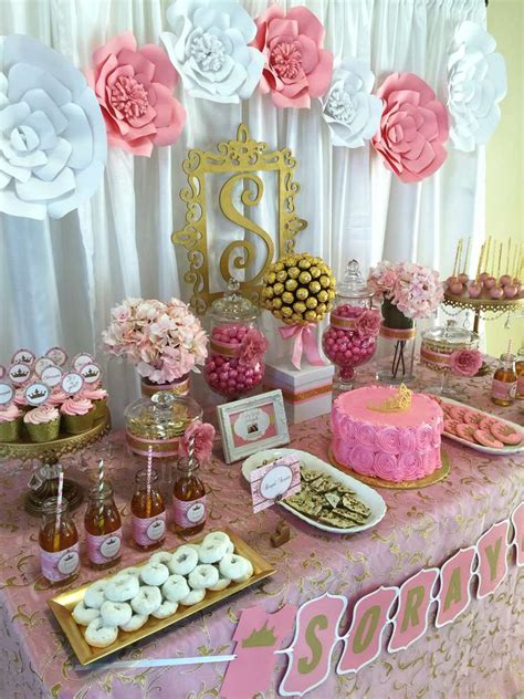 pink and gold baby shower table decorations pink and gold baby shower baby shower party ideas gold