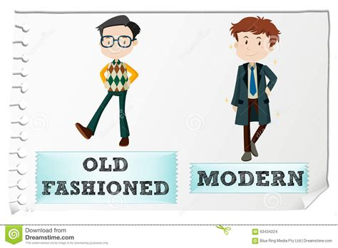 old modern opposite adjectives with old fashioned and modern stock