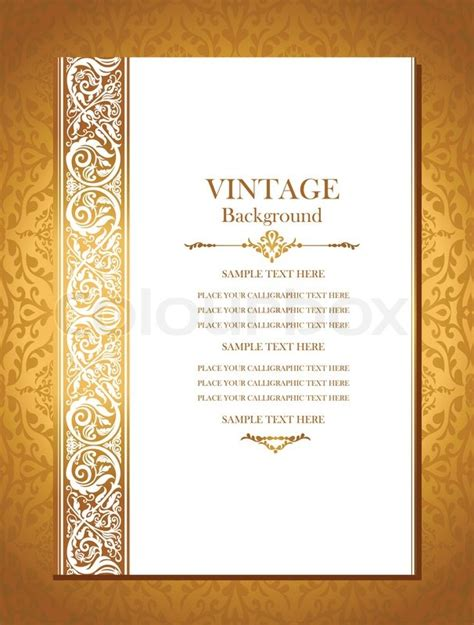 Wedding Card Cover Design by Vintage Royal Background Antique Gold Ornament