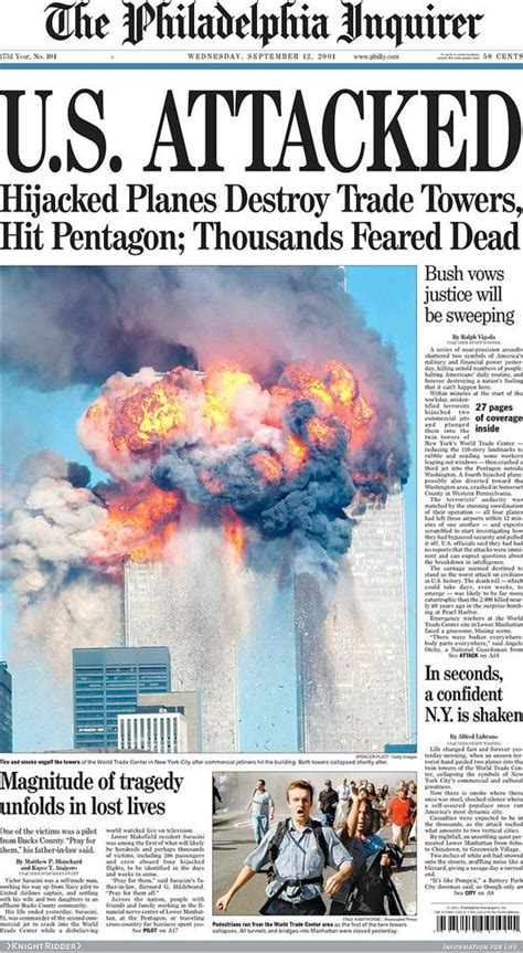 September 11 Essay by Looking Back Newspaper Front Pages Covering 9 11