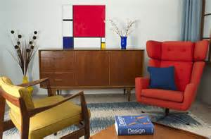 Small Living Room Dining Room Combo using primary color palettes midmod decor