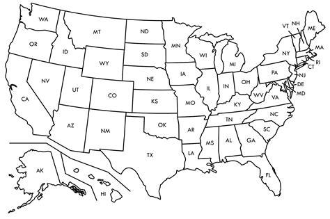 printable outline map of usa with state names geography outline maps united states