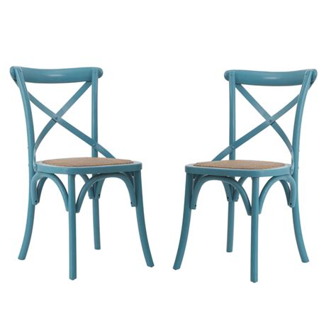 Light Blue Dining Chairs Light Blue Elm Wood Rattan Vintage Style Dining Chairs Set Of 2 Everything Turquoise
