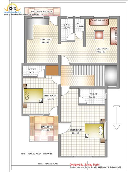 Duplex House Designs Floor Plans | duplex house plan and elevation 2310 sq ft indian
