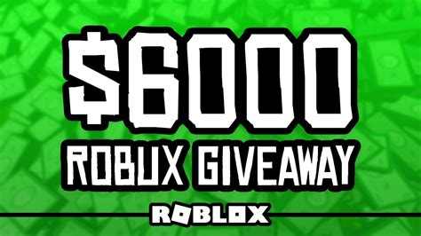Robux Giveaway Youtube - 6000 robux giveaway youtube