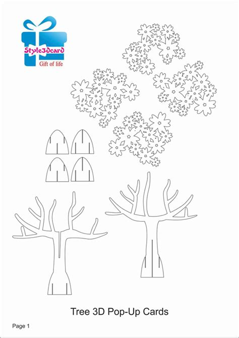 card tree template tree 3d pop up card kirigami pattern 1 origamic