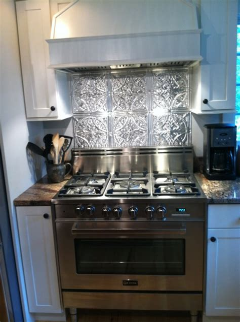 tin tiles for kitchen backsplash stainless steel stove fabulous tin backsplash