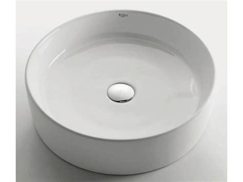 white round vessel sink kraus white round ceramic vessel sink with drain chrome